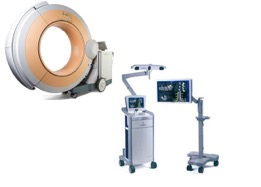 The system consists of the O-arm (Mobile CT type scanner) and the Stealth Navigation System.